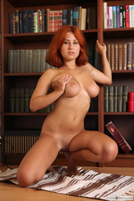 Busty Redhead April Is Nude In The Library-05