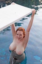Busty Redhead Misha Lowe Having Fun By The Pool-15