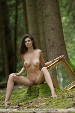 Busty Jasmine Posing Nude In The Forest-14
