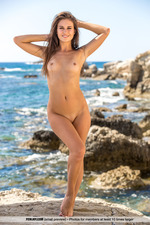 Beautiful Brunette Posing Naked By The Sea-08