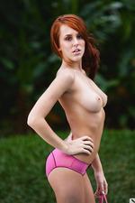 Redhead natural girl at the pool-01