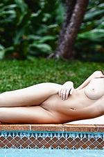 Redhead natural girl at the pool-13