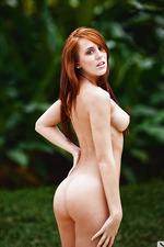 Redhead natural girl at the pool-15