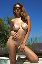 Busty Ali Roseis Nude By The Pool-14