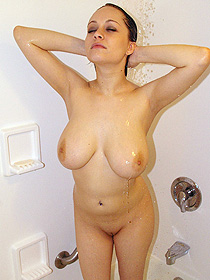 Big natural boobs in the shower