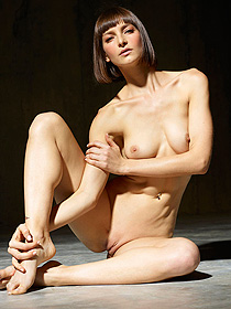 Naked brunette girl posing like a sculpture
