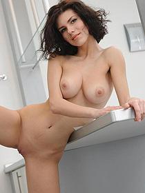 Brunette met-art model model eith nice tits