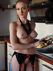 Sexy Busty Teen In The Kitchen