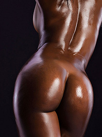 Ebony Chick With Oiled Nude Body