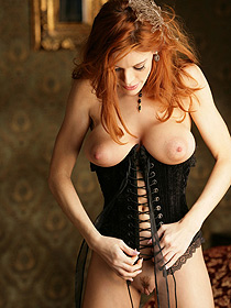 Busty Redhead In Corset