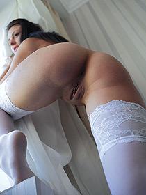 Nika In Sexy White Stockings