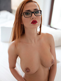 Stunning Redhead Hottie In Glasses