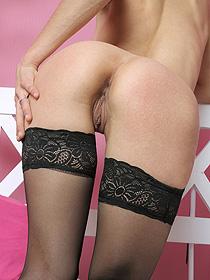 Innocent Looking Slut In Black Stockings