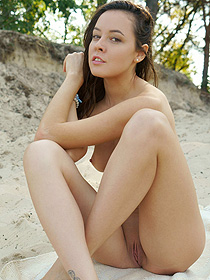 Sweet Mira Is Naked In The Sand