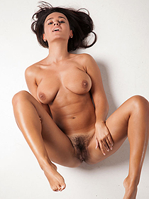 Busty Sanita Presenting Her Hairy Pussy