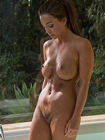 Abigail Mac Posing At The Pool