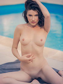 Serena Wood Posing By The Pool