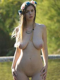 Busty Stella Cox Posing Outdoors