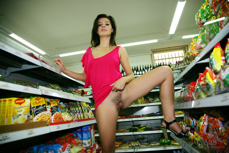Naked girl presenting her body in public-11